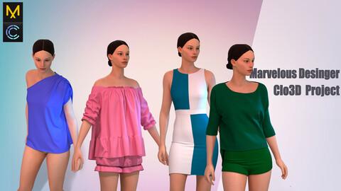 Set of 4 pieces of women's clothing  (Project Marvelous Desinger/Clo3D)