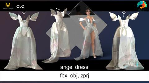 Angel dress and body for game. Marvelous Designer