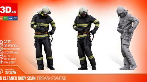 Cleaned 3D Body Scan Fireman Standing