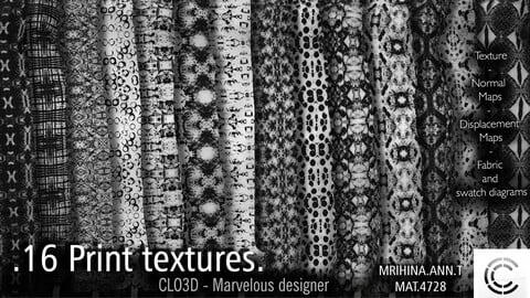 .16 Print Textures. Clo3d, Marvelous Designer.