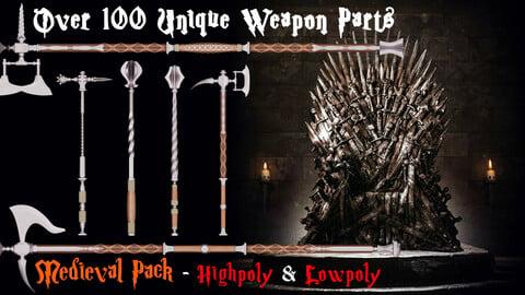 Medieval mega weapon kit bash pack series - Vol 2 - Axes & Hammers & Maces