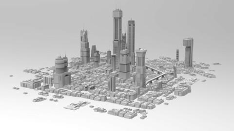 Sci-Fi Futuristic City - CyberPunk, Retrofuturistic Buildings and Skycrapers