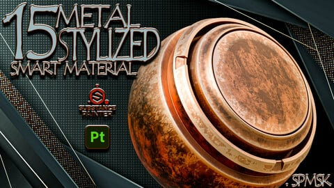 15 - Practical and Useful Stylized Metal Smart Material Adobe Substance 3D Painter - VOL02