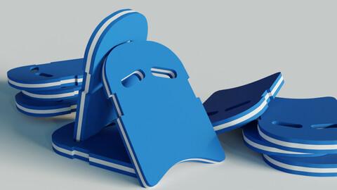 Swimming Kick Board Low-Poly 3D Model