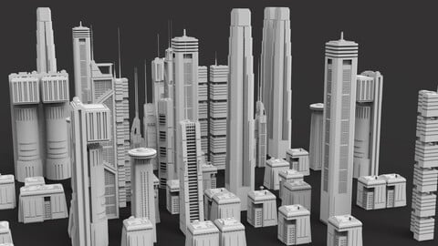 Sci-Fi Skycrapers Kit 3 - Futuristic Cyberpunk Buildings