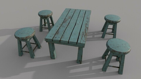 Old Stool and Table