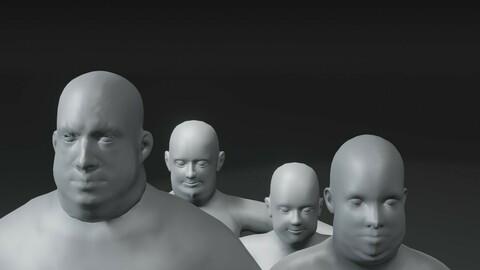 Fat Human Body Base Mesh 3D Model Family Pack 10k Polygons