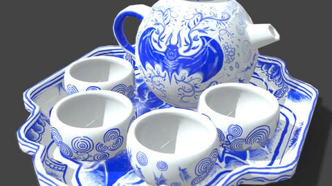Bat themed Blue China Tea Set