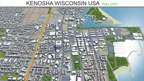 Kenosha city Wisconsin USA 3d model 25km