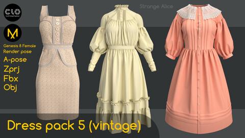Dress pack 5 (vintage). Clo3d, Marvelous Designer projects.