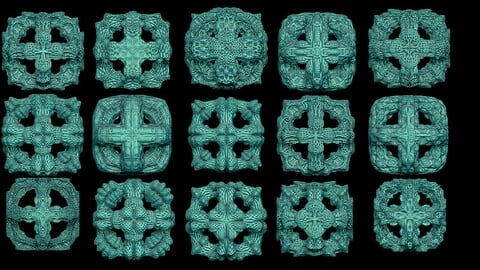 15 fractal forms cube wire 3D print model