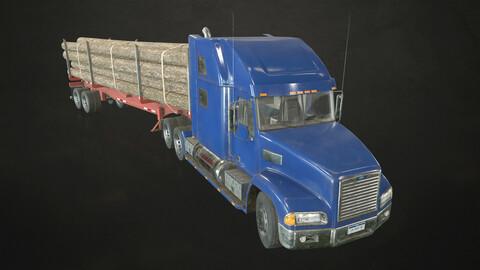 Semi Truck Log Trailer - Low Poly