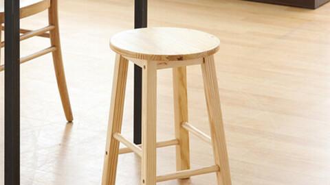 Natural wood DIY stool/prefab home bar chair