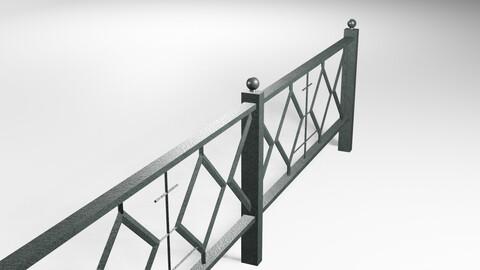 Black Metal Fence Low-poly 3D model