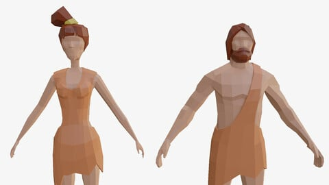 Man and a woman from the stone age low poly