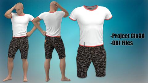T-shirt with denim shorts