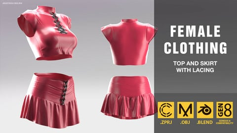 Women's suit. Top and skirt with lacing. MD/CLO3D PROJECT FILE + OBJ + BLEND