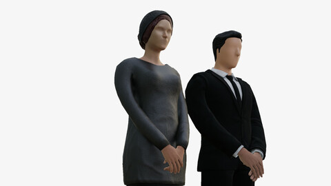Man and a woman in black costume low poly PBR textures