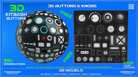 KITBASH BUTTONS & KNOBS 4K Textures and 3D Models - FREE!!!