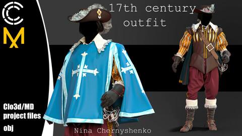 17th century outfit. Marvelous Designer/Clo3d project + OBJ.