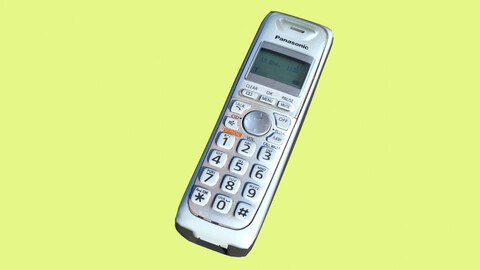 Cordless phone in Blender, fbx and glb