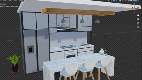 white modern design kitchen with lights