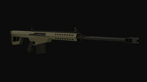 Barret M82 50 Cal Low Poly