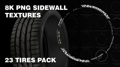 Tire sidewall 8K PNG textures pack 23 tires