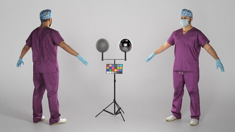 Male doctor in medical uniform ready for rigging 325
