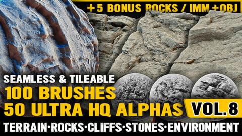 Ultra HQ Terrain / Rock Seamless Sculpt Zbrush brushes + Alphas (Blender, Substance, etc.) Vol.8