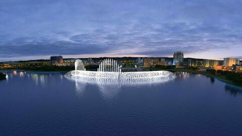 City Night Scene - Lake Music Fountain