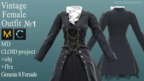 Vintage Female Outfit №1. Clo 3D / Marvelous Designer project +obj/fbx