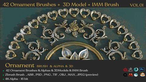 42 Ornament Brushes + 3D Model + IMM Brush Vol 01