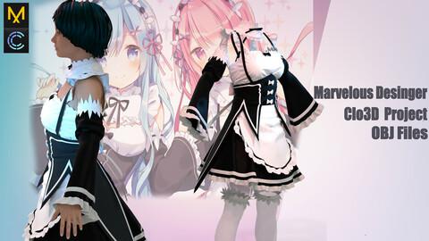 Anime Re: ZERO ,Outfit REM & RAM /Marvelous Desinger/Clo3d Project + OBJ file