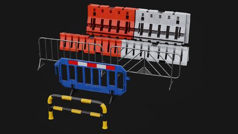 Traffic Fence 3D model Pack