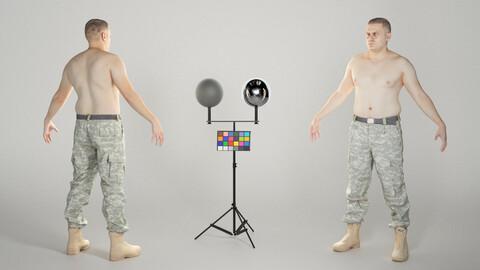 Shirtless military man in A-pose 327