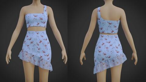 3D Ruffle Asymmetrical Dress- 2 Piece Summer floral Outfit