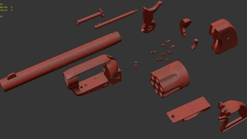Very high GUN, Colt Colt Single Action Army, USA, 5M polygons for realistic renders