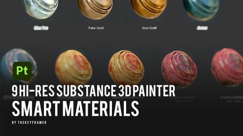 9 Hi-Res Substance 3D Painter Smart Materials - by Thekeyframer