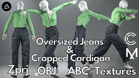 Marvelous Designer + Clo3d + OBJ + Texture : Cropped cardigan & oversized jeans