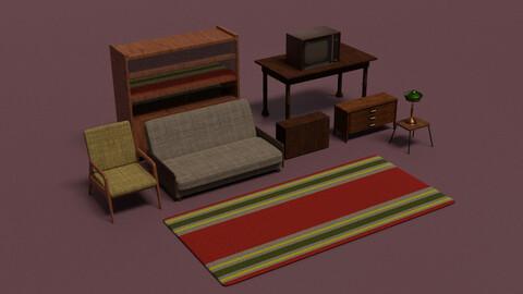Soviet Furniture Asset Low-poly 3D models