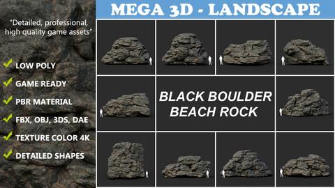 Black Boulder Beach Rock Collection 210804