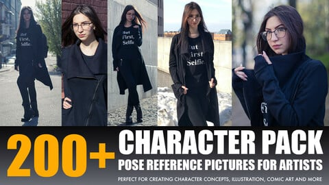 """Photo/Textures Reference Pack: 200+ Character  Pose Reference Pictures """"Woman with black coat"""""""
