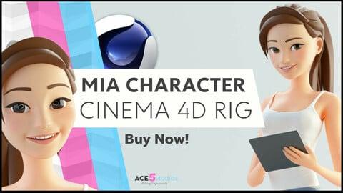Mia - C4D - Cartoon Girl Rigged