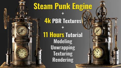 Steampunk Engine asset+4kPBR textures+11h tutorial