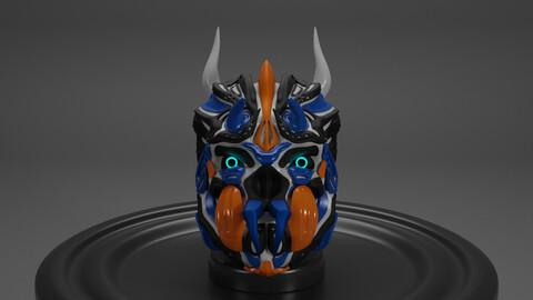 Cyberpunk Skull low-poly PBR