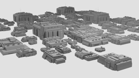 Sci-Fi Residential Buildings Kit - 10 Futuristic Houses
