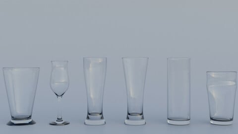 Glass cups 24 piece collection