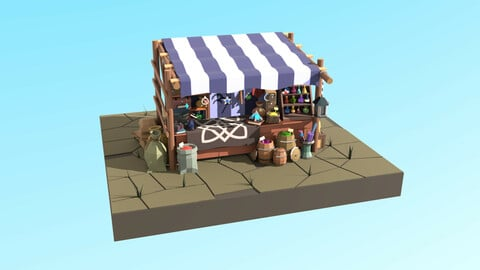 Low-poly Magic items stall