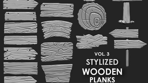 Stylized Wooden Plank IMM Brush Pack 21 in One Vol.3